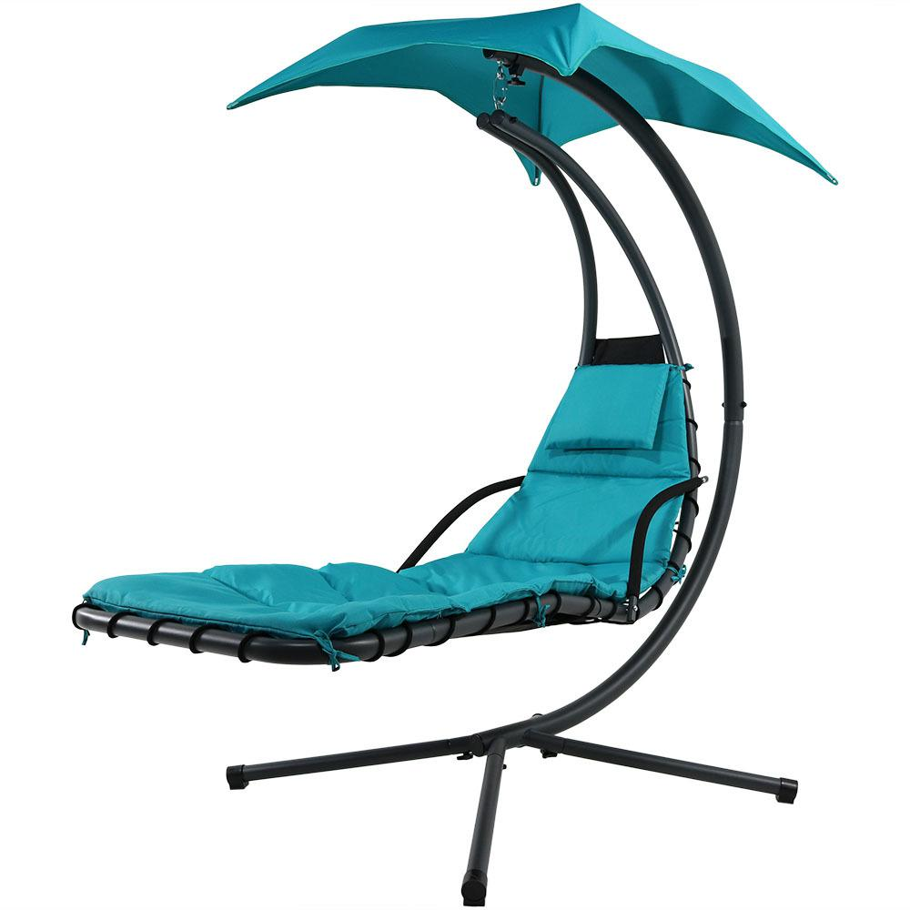Sunnydaze Decor Steel Outdoor Floating Chaise Lounge Chair With Teal Cushion