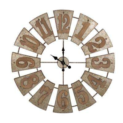 38.98 in. D Oversized Farmhouse Metal Wall Clock