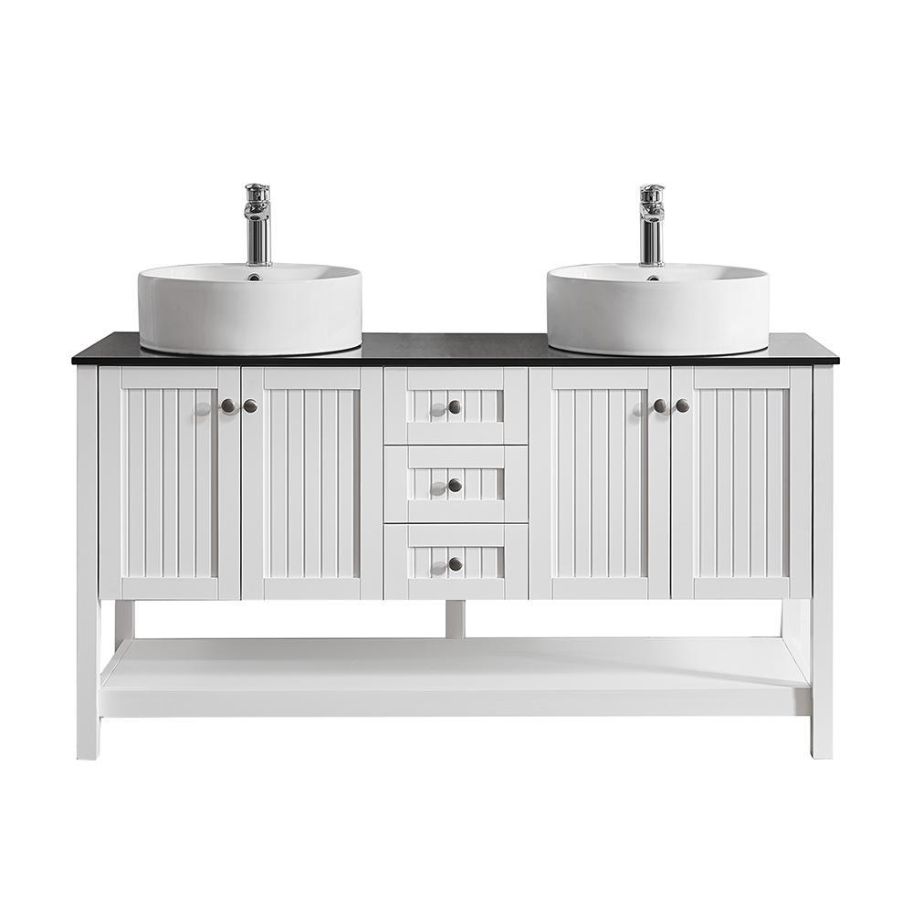 Modena 60 in. W x 20 in. D Vanity in White with Glass Vanity Top in Black with White Basin