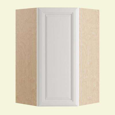 Brookfield Assembled 27x36x15 in. Single Door Hinge Left Wall Kitchen Angle Cabinet in Pacific White