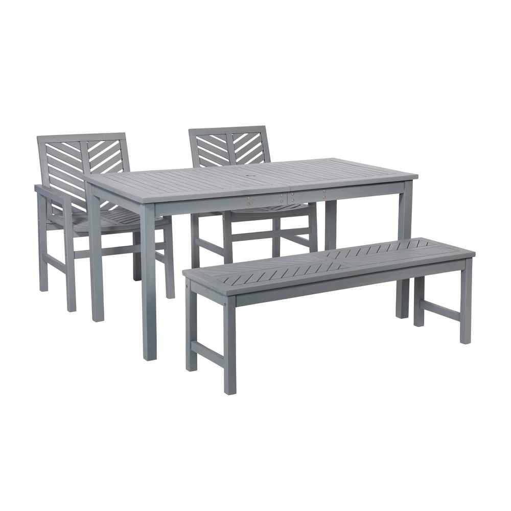 Walker Edison Furniture Company Chevron Grey Wash 4 Piece Wood Outdoor Patio Dining Set