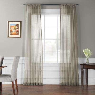 Solid Museum Grey Voile Poly - 50 in. W x 84 in. L (2-Panel)