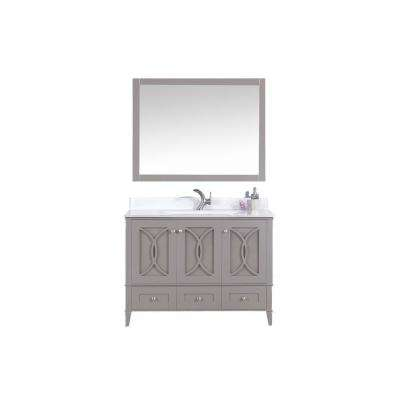 48 in. W x 22 in. D Vanity in Warm Gray with Tempered Glass Vanity Top and Mirror