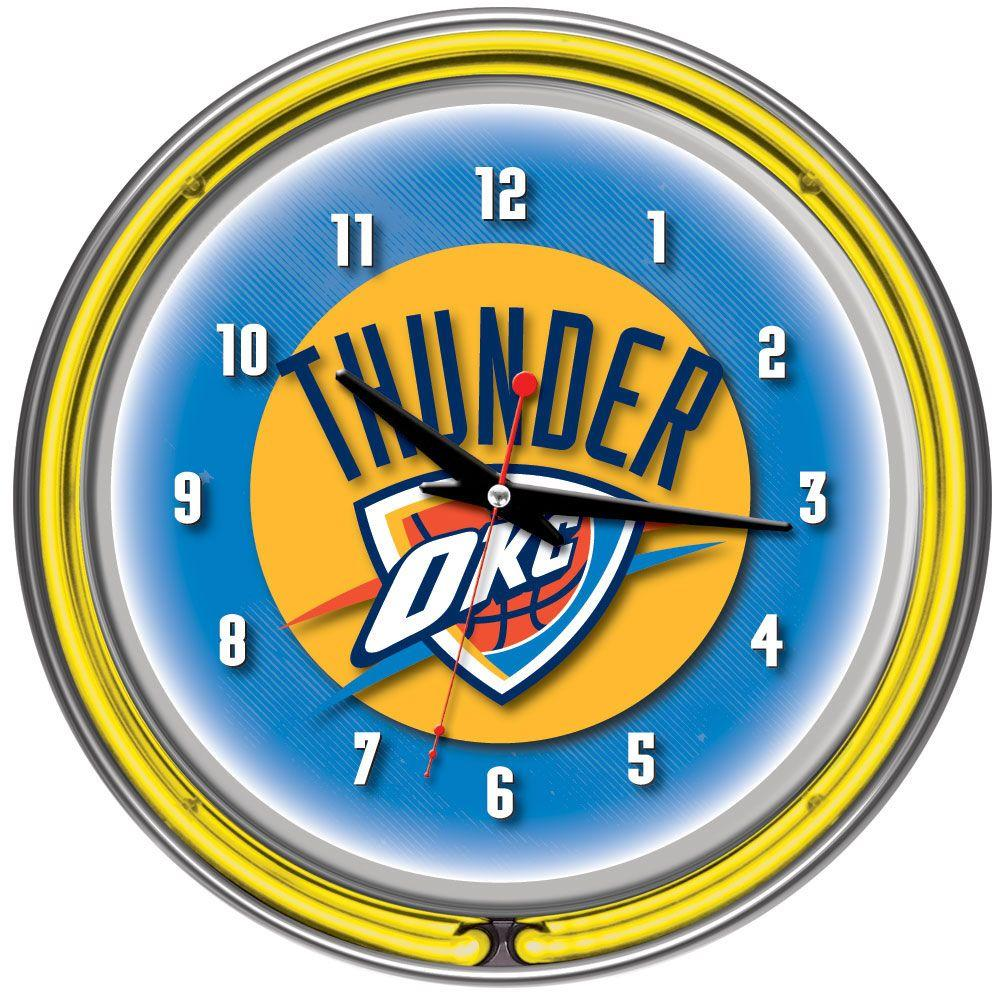 Trademark 14 in. Oklahoma City Thunder NBA Chrome Double Ring Neon Wall Clock