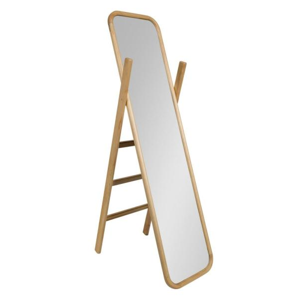 Large Natural Plastic Modern Mirror (58 in. H X 16 in. W)