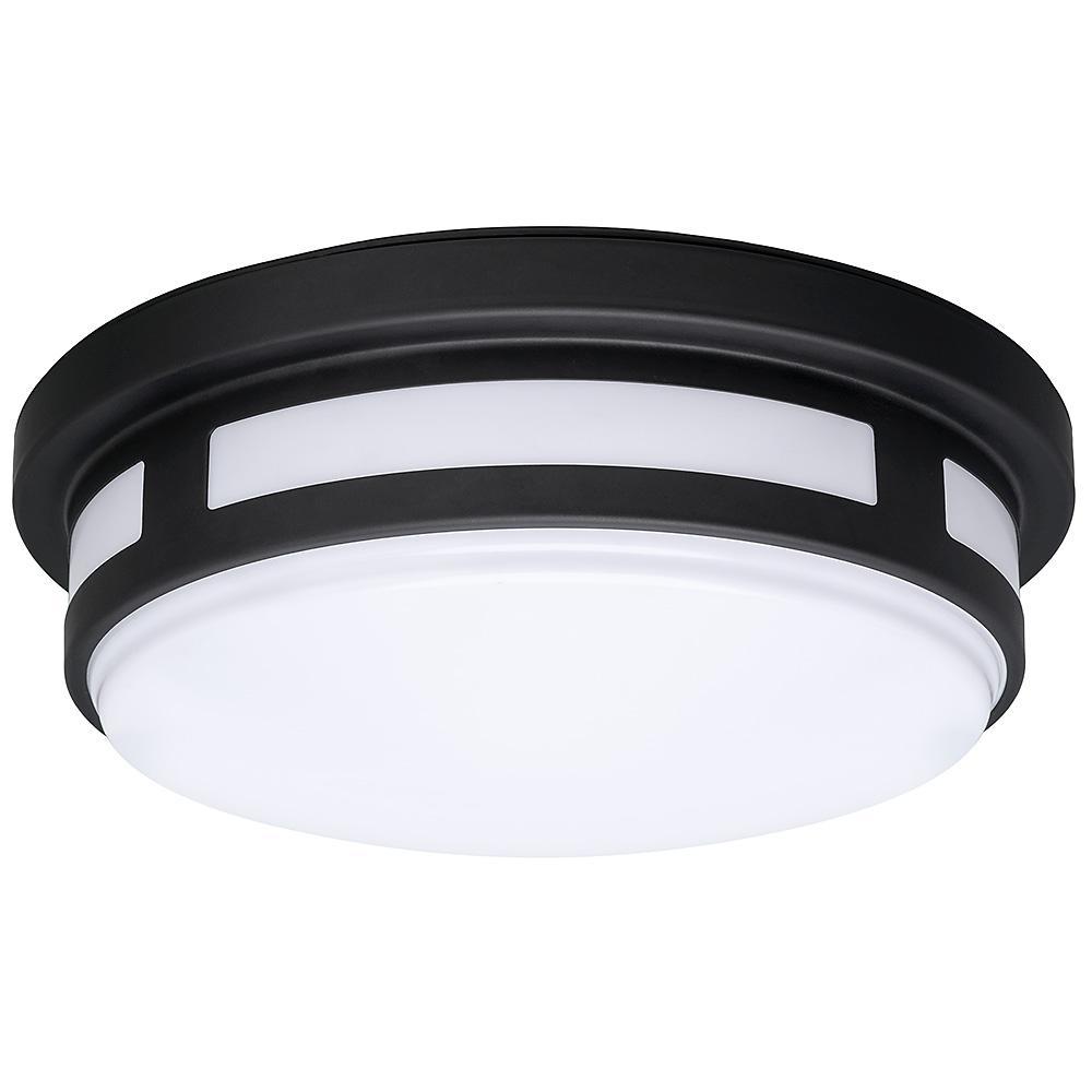 hampton bay 11 in round black integrated led outdoor flush mount