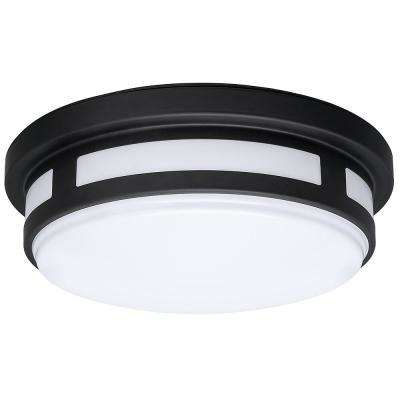Outdoor flush mount lights outdoor ceiling lighting the home depot round black integrated led outdoor flush mount with color selectable feature workwithnaturefo