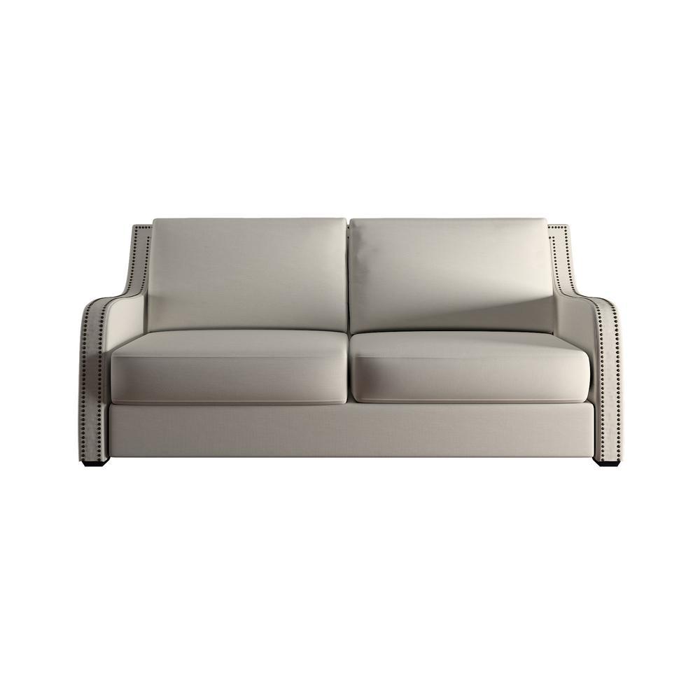 Homesullivan Sloane 1 Piece Off White Linen Sofa