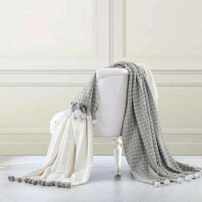 2-Pack Cross Stitch with Pom Poms Ivory/Silver 100% Cotton Throw