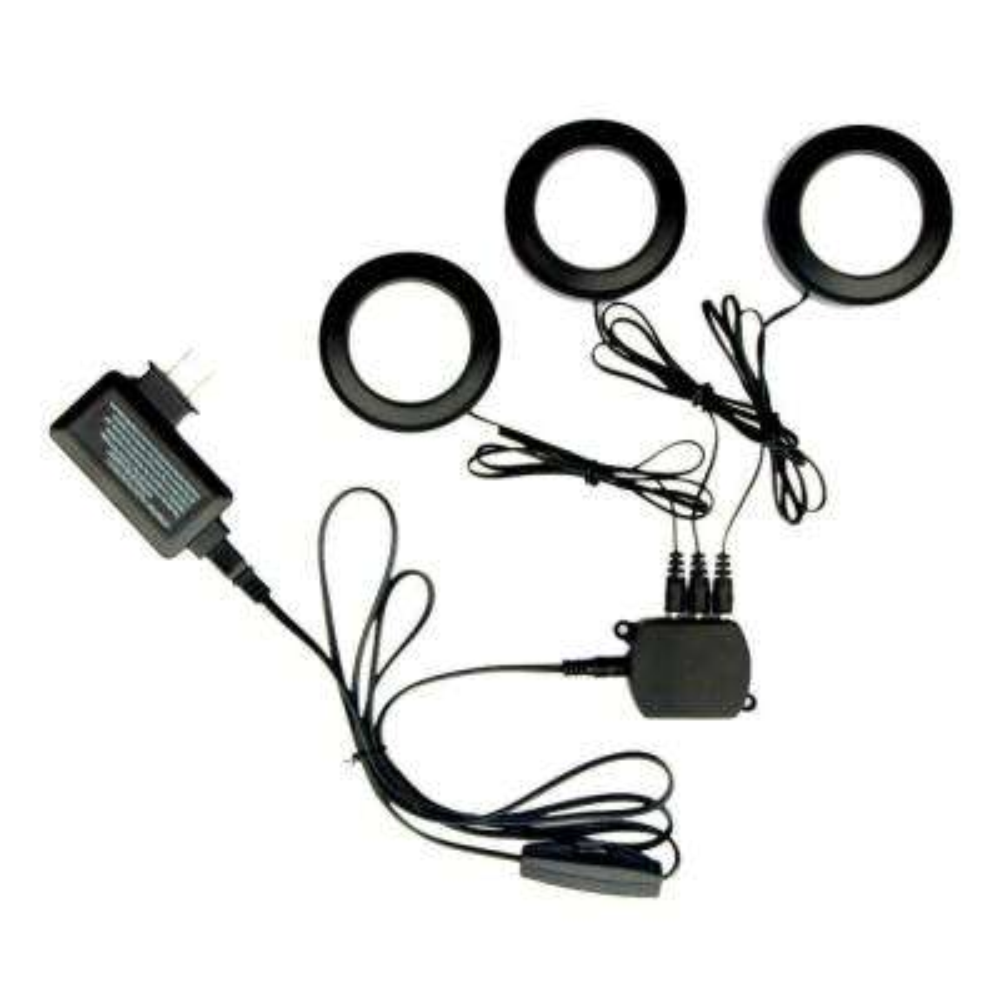 3-Light Black LED Puck Light Kit