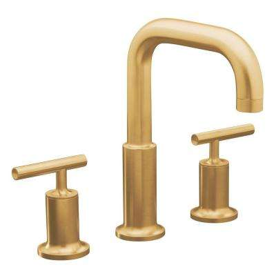 Purist Deck Mount 8 in. Widespread 2-Handle High-Arc Bathroom Faucet Trim in Vibrant Moderne Brushed Gold