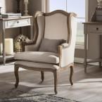 Baxton Studio Oreille French Inspired Beige Fabric Upholstered Accent Chair