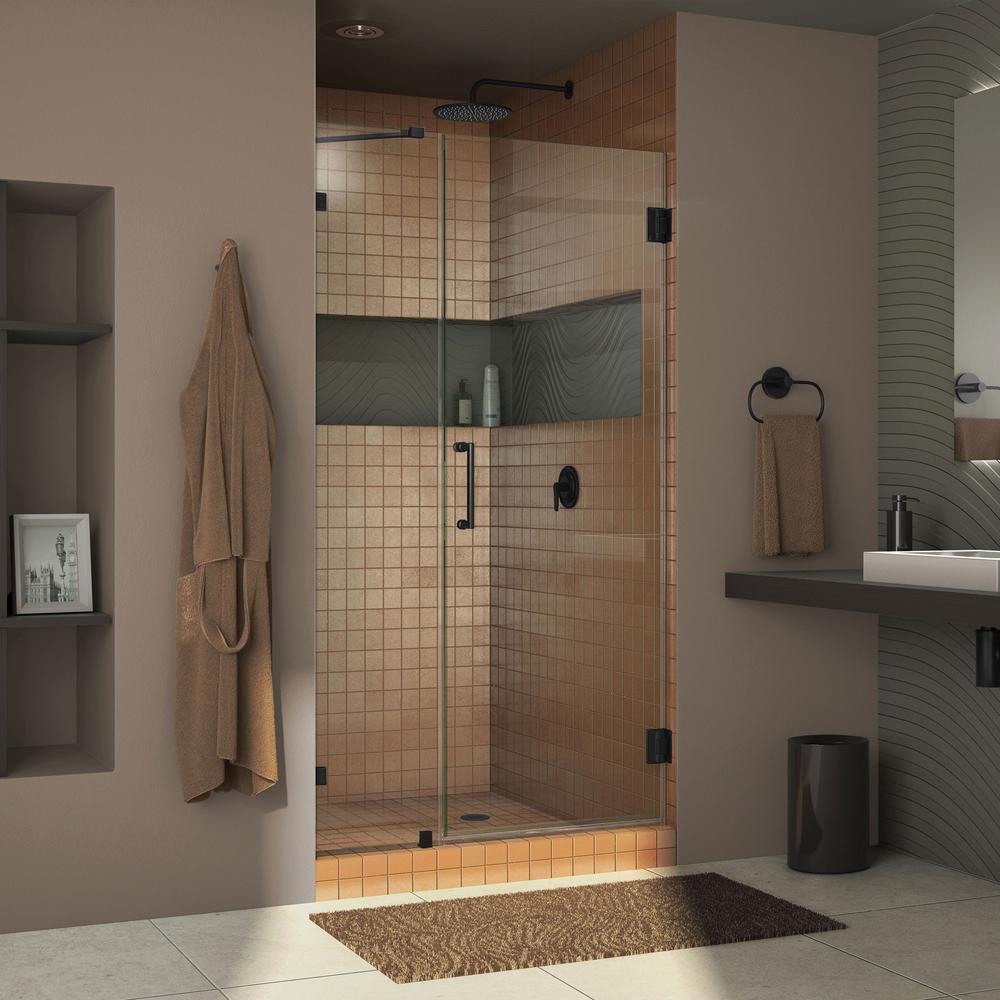 DreamLine Unidoor Lux 41 in. x 72 in. Frameless Hinged Shower Door in Satin Black