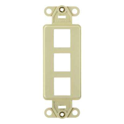 1-Gang Decora QuickPort 3-Port Insert in Ivory