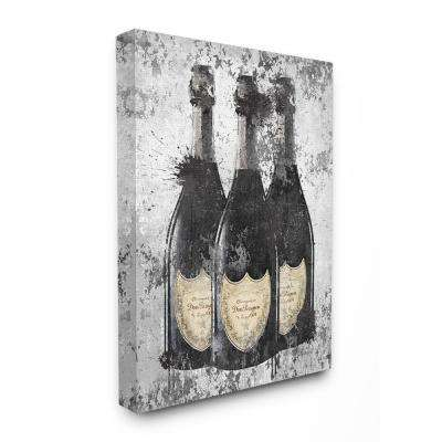 "30 in. x 40 in. ""Champagne Bottles Grey Gold Ink Illustration"" by Amanda Greenwood Canvas Wall Art"