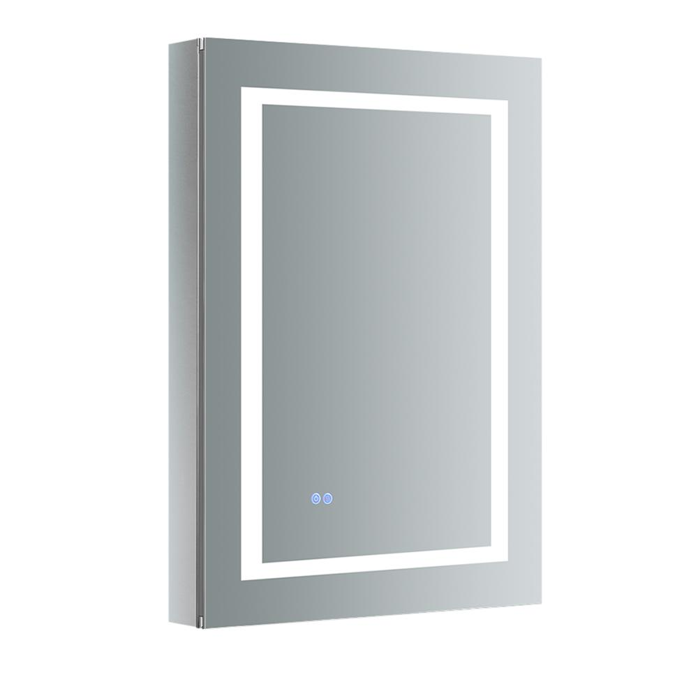 Fresca Spazio 24 in. W x 36 in. H Recessed or Surface Mount Medicine Cabinet with LED Lighting, Mirror Defogger and Right Hinge