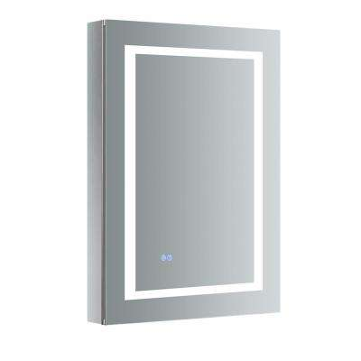 Spazio 24 in. W x 36 in. H Recessed or Surface Mount Medicine Cabinet with LED Lighting, Mirror Defogger and Right Hinge