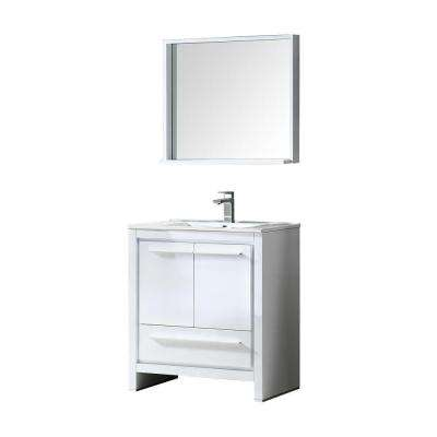 Allier 30 in. Vanity in White with Ceramic Vanity Top in White and Mirror