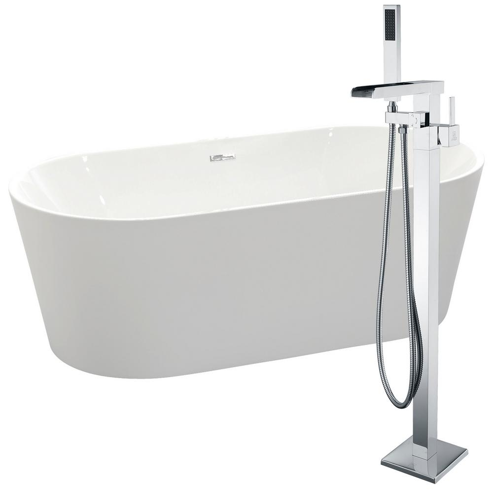 Chand 67 in. Acrylic Flatbottom Non-Whirlpool Bathtub in White with Union