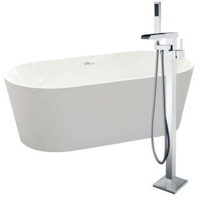 Chand 67 in. Acrylic Flatbottom Non-Whirlpool Bathtub in White with Union Faucet in Polished Chrome