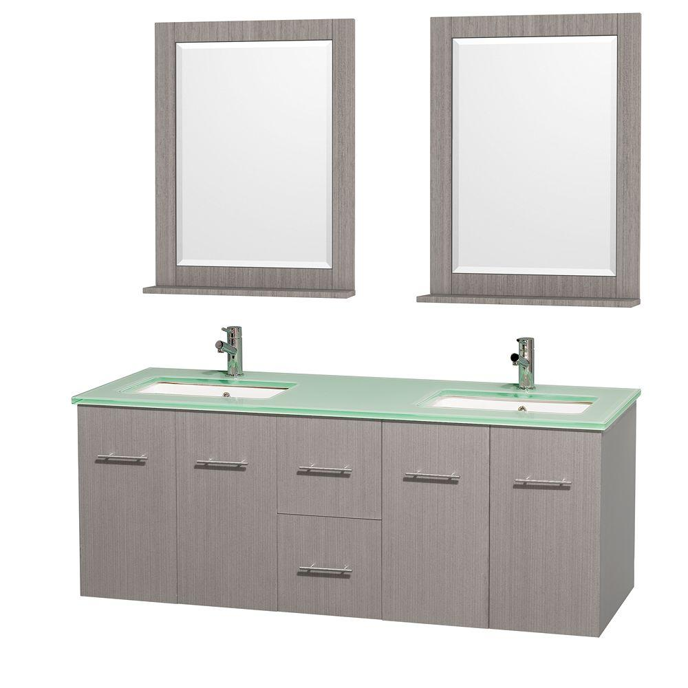 Wyndham Collection Centra 60 in. Double Vanity in Gray Oak with Glass Vanity Top in Green, Square Sink and 24 in. Mirror
