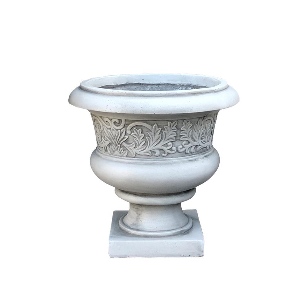 Large 16.54 in. x 15.75 in. H Light Grey Lightweight Concrete Low Fancy Urn Planter