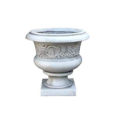 Large 16.54 in. x 15.75 in. H Light Grey Lightweight Concrete Low Fancy Urn Planter