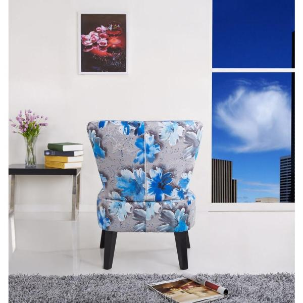 Cora Contemporary Floral Print Fabric Upholstered Accent Chair, Grey/Blue C-039