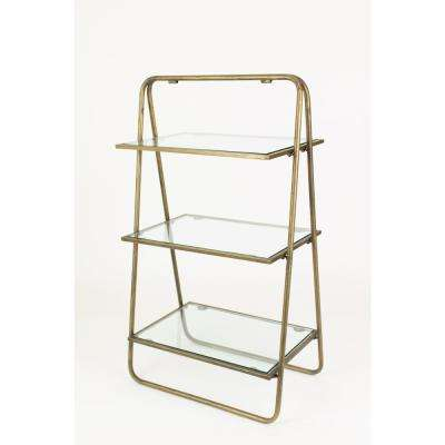 3-Tier Grey Metal and Glass Display Shelf