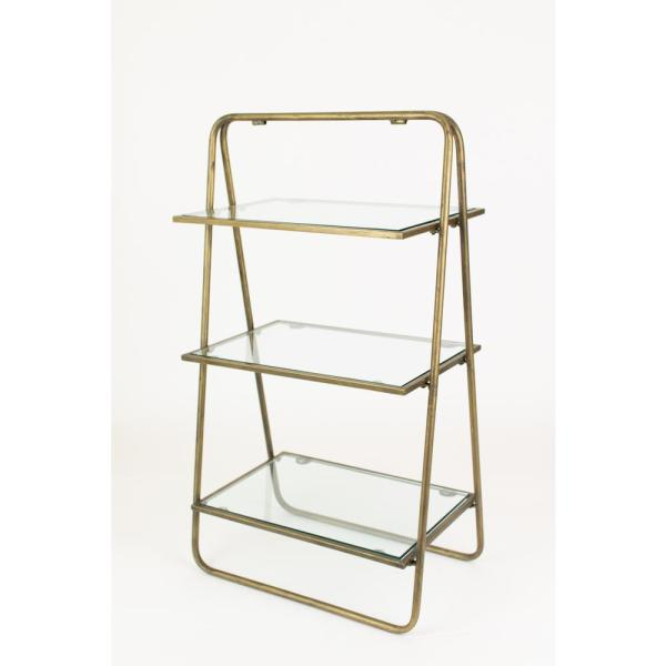 3 Tier Grey Metal And Gl Display Shelf Cll2255 The