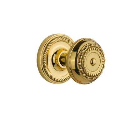 Rope Rosette 2-3/8 in. Backset Polished Brass Privacy Bed/Bath Meadows Door Knob