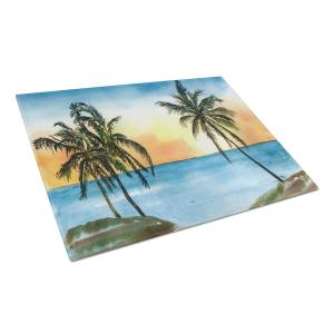Palm Tree Tempered Glass Large Cutting Board