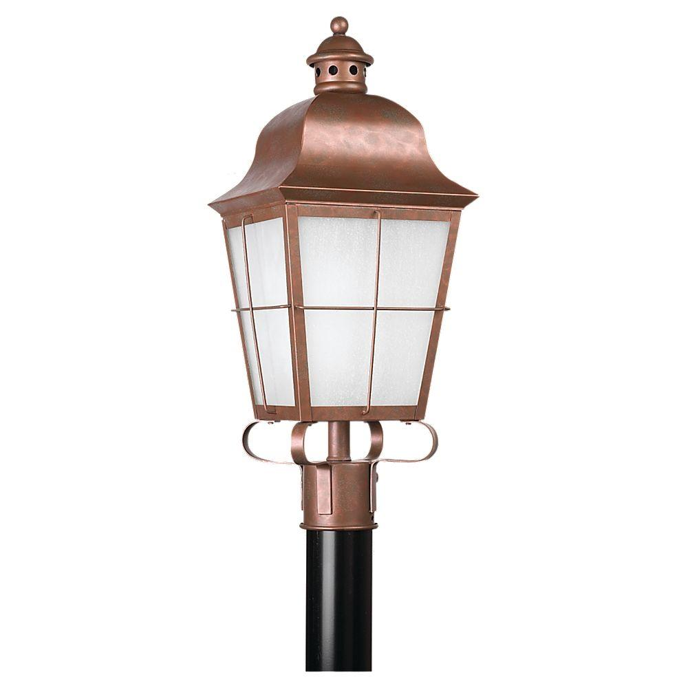 Sea Gull Lighting Chatham 1-Light Outdoor Weathered Copper Post Top