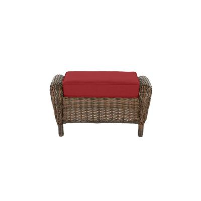 Cambridge Brown Wicker Outdoor Patio Ottoman with CushionGuard Chili Red Cushions