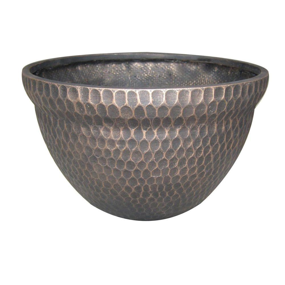 null 15 in. Fiber Glass Lorant Hammered Planter-DISCONTINUED