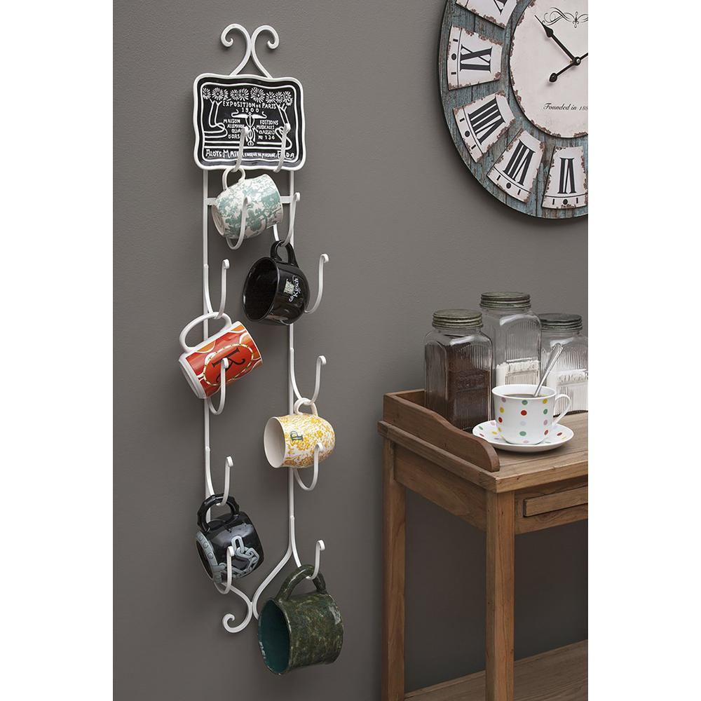 4-Bottle Wine and Towel Rack in White