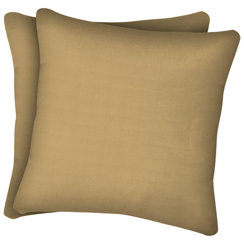 null Twilight Tan Solid Texture Square Outdoor Throw Pillow (2-Pack)-DISCONTINUED