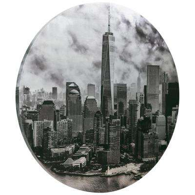 """Freedom Tower"" Circular silver canvas Giclee printed on 2 in.  Wood Stretcher Wall Art"