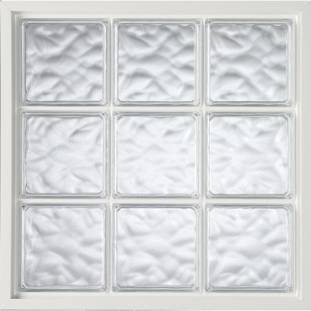 Hy-Lite 47 in. x 47 in. Acrylic Block Fixed Vinyl Window - White