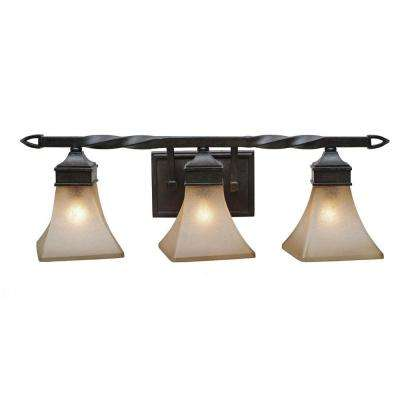Genesis Collection 3-Light Roan Timber Bath Vanity Light