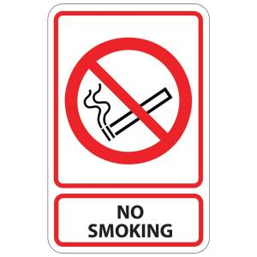 Rectangular Plastic No Smoking Sign by