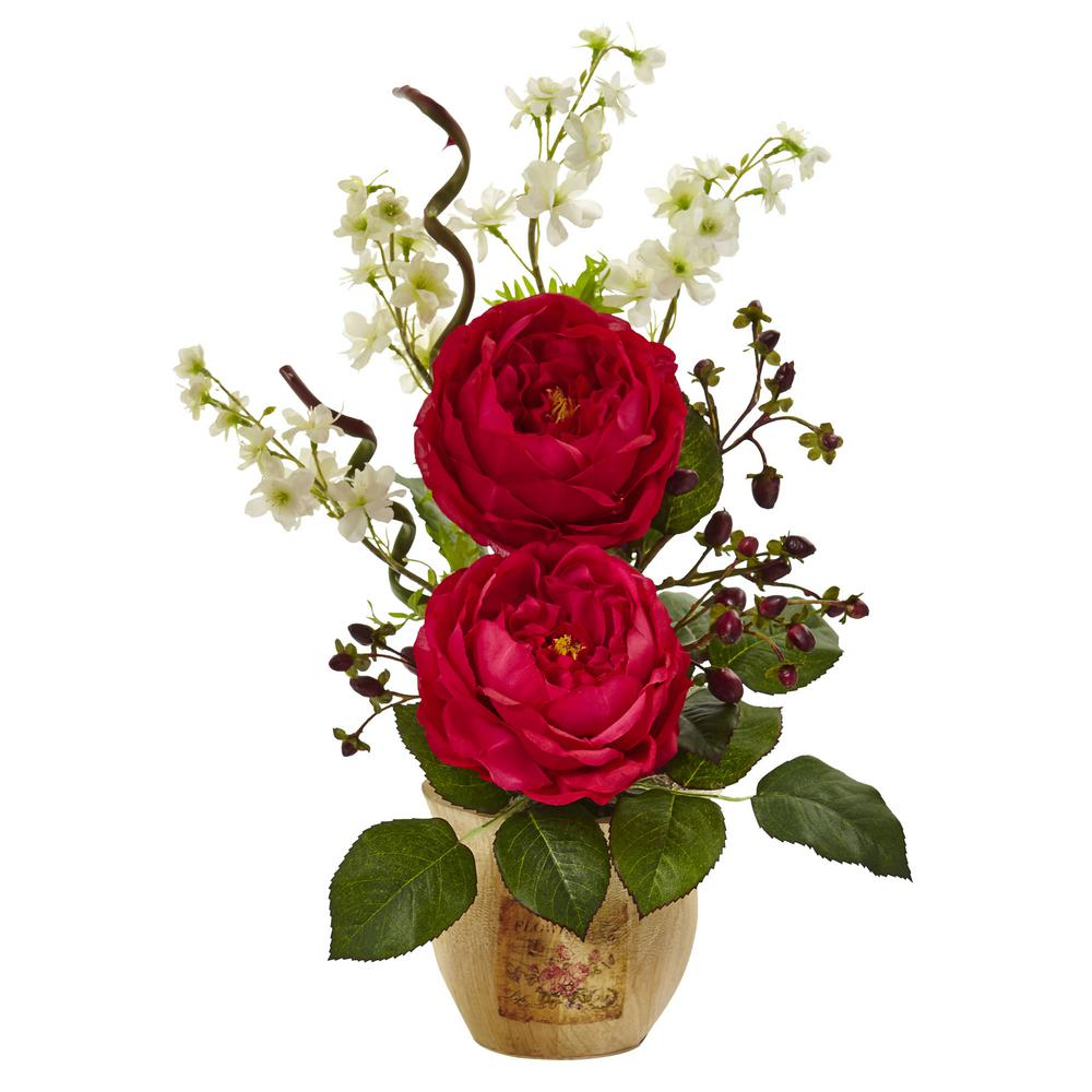 17 in. Large Rose and Dancing Daisy in Wooden Pot in
