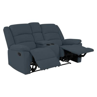 2-Seat Caribbean Blue Plush Low-Pile Velvet Wall Hugger Recliner Loveseat with Power Storage Console