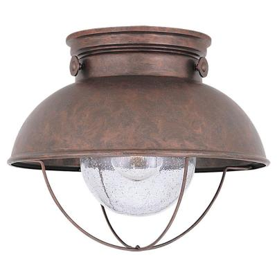 Sebring 11.25 in. W. 1-Light Weathered Copper Outdoor Ceiling Fixture