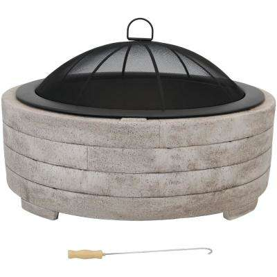 32.5 in. W x 21.25 in. H Large Round Faux Fiberglass Wood Burning Fire Pit Bowl with Spark Screen