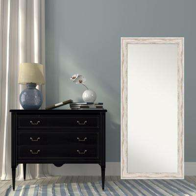 Alexandria White Wash Wood 29 in. W x 65 in. H Distressed Floor/Leaner Mirror