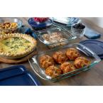 Pyrex Easy Grab 19-Piece Glass Bakeware and Storage Set with Blue Lids