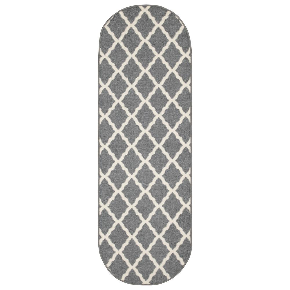 Ottomanson Glamour Collection Gray 1 ft. 8 in x 4 ft. 11 in. Trellis Design Oval Kids Runner Rug