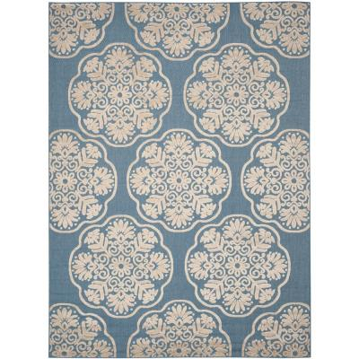 Cottage Indoor/Outdoor Light Blue/Beige 8 ft. x 11 ft. Area Rug