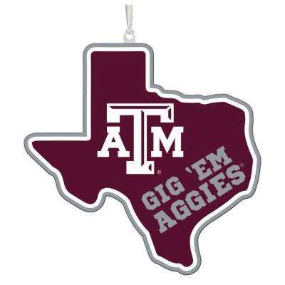 Texas A&M 5 in. NCAA Team State Christmas Ornament
